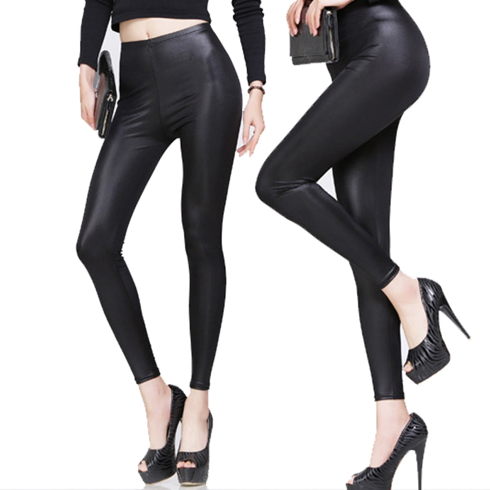 New Fashion Women Nylon Leggings High Waist Stretch Skinny Shiny Pants Slim Fit Legging Autumn Trousers UND Sale