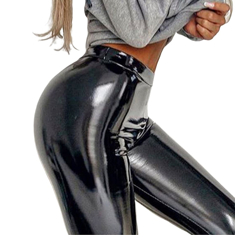 NORMOV New Sexy PU Leggings Women High Waist Slim Fitness Bright Legging Female Push Up Leather Leggins Femme Solid Color
