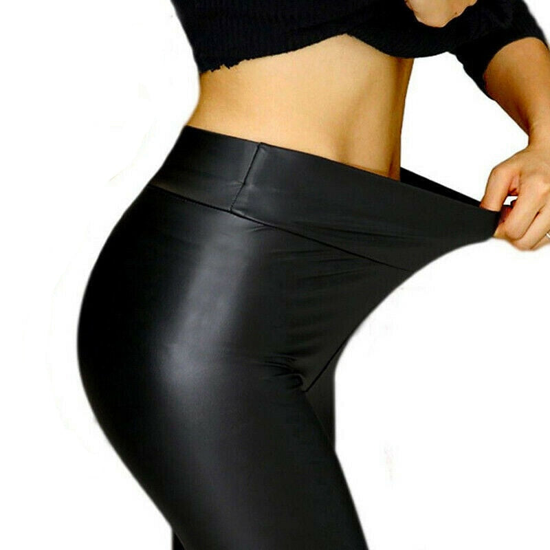 NORMOV Women Faux Leather Sexy Thin Black Leggings High PU Leather Waist Leggings Stretchy Push Up Slim Leggins