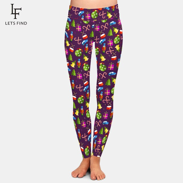 LETSFIND 2020 High Quaility Christmas Pattern with Toys Digital Print Leggings High Waist Plus Size Slim Women Fitness Leggings