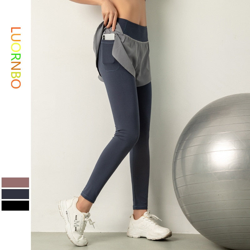 Ladies Sports Yoga Pants Leggings Culottes Side Pockets Running Tennis Workout Gym High Waist Breathable Quick Dry Sportswear