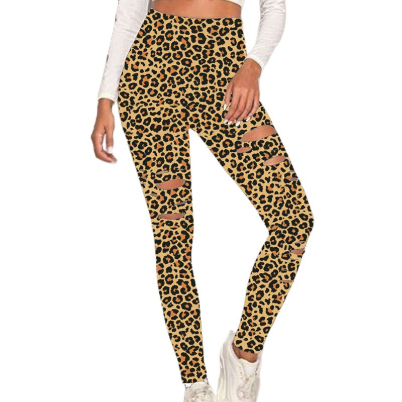 Women High Waist Yoga Pants Leopard Cutout Ripped Hole Workout Skinny Leggings 6XDA