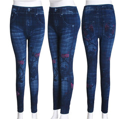 Elastic Slim Women Seamless Faux Denim Jeans Leggings Print Fleece Fitness Ankle Pencil Pants Stretchy Push up Workout Trousers