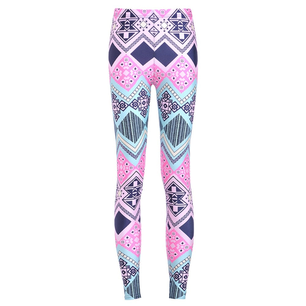 Elastic Casual Pants 3D Digital Printing folk-custom Pattern Women Leggings 7 sizes Fitness Clothing Free Shipping
