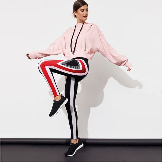 Swirl Striped Pattern Print Black Polyester Skinny Leggings Fashion Women Sportswear High Waist Leggings