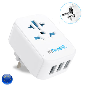 European Travel Adaptor With 3 USB Ports (Type E/F)