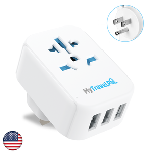USA Japan Travel Adaptor With 3 USB Ports (Type A / B)