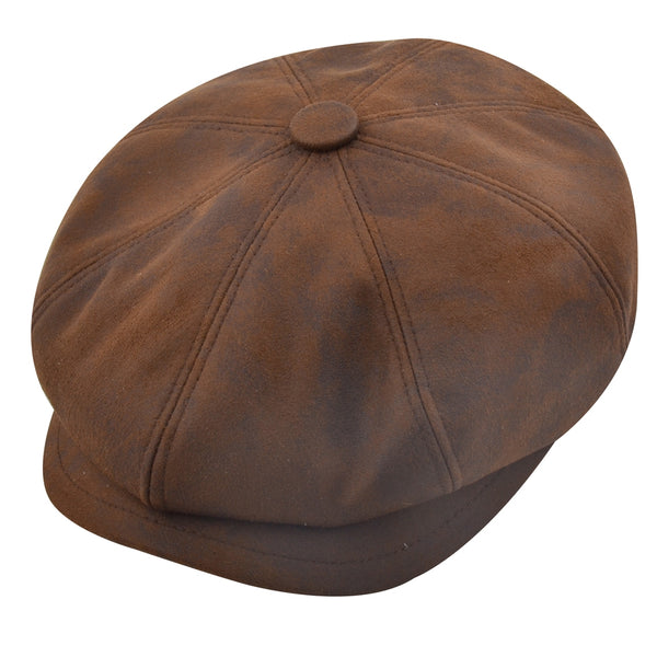 Gladwinbond Leather Look Newsboy Cap - Brown,Black