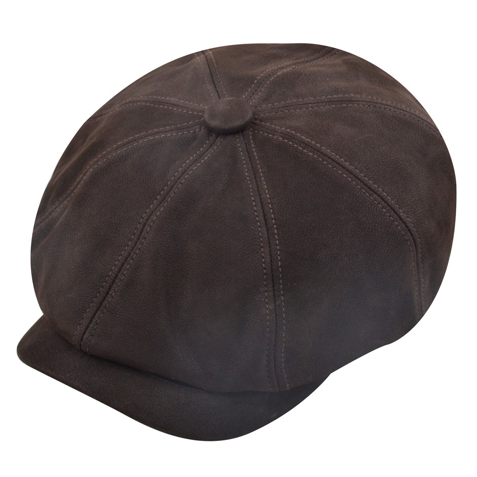 Gladwin Bond Hatters London Leather Newsboy Cap - Maroon,Brown,Black