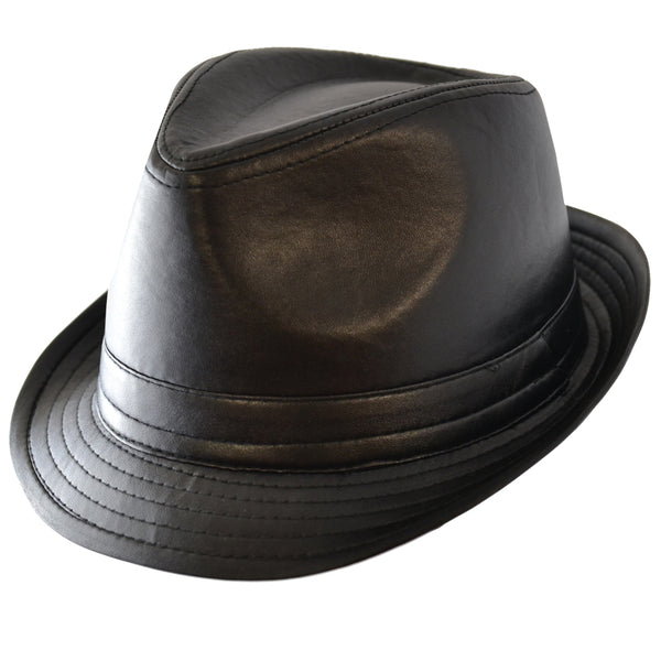 Black  Leather Look Trilby Hat