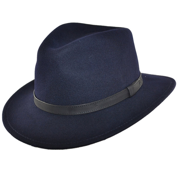Unisex Wool Felt Fedora Hat With Leather Band