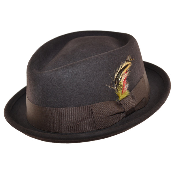Diamond Crown Pork Pie Hat - Brown