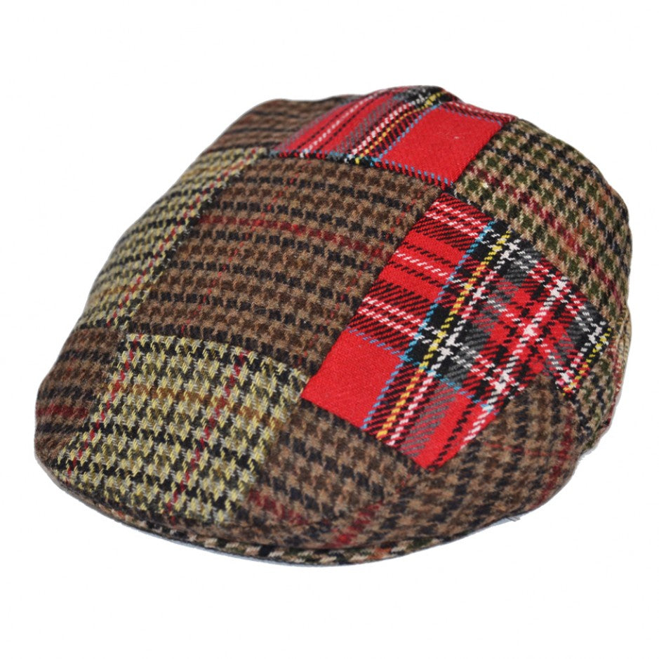 G&H Mixed Tweed & Check Patch Flat Cap - Multi/Colours