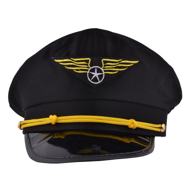 Pailot Cap Fancy Dress Airline Captain Hat - Black