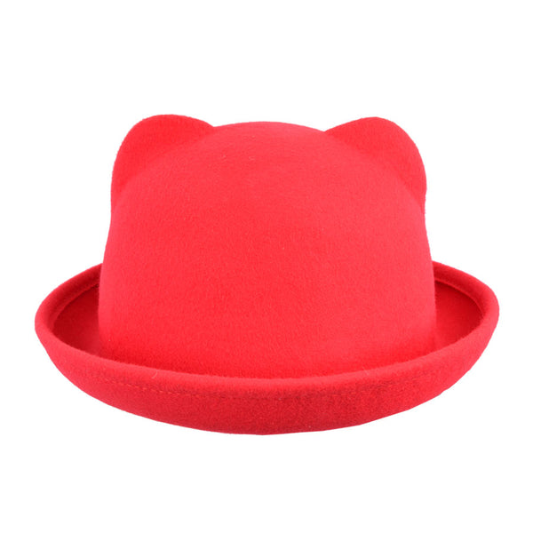 Maz Vintage Roll Rim Cute Cat Ears Bowler Hat
