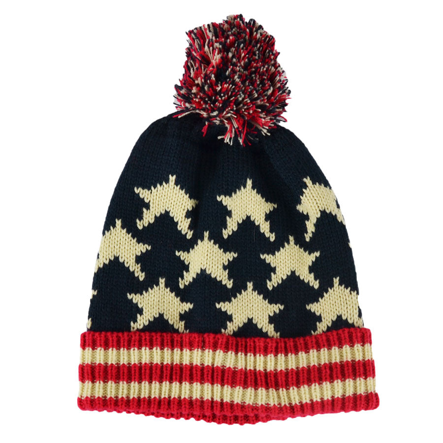 US Beanie Hat With Pom Pom - Multi-col