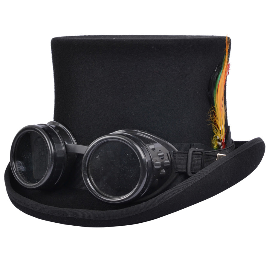 Steampunk Top Hat With Goggles - Black