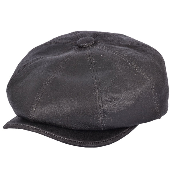 Gladwinbond Sheep Skin Newsboy Leather Cap
