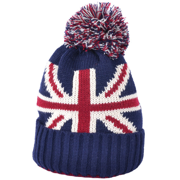 Union Jack Beanie With Pom Pom Hat - Multi-col