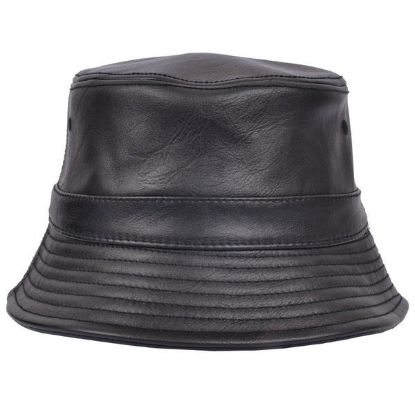 Carbon 212 Leather Look PU Bucket Hat - Black