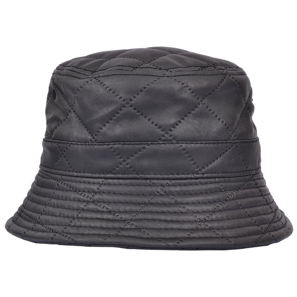 Carbon 212 Quilted Leather Look Bucket Hat - Black