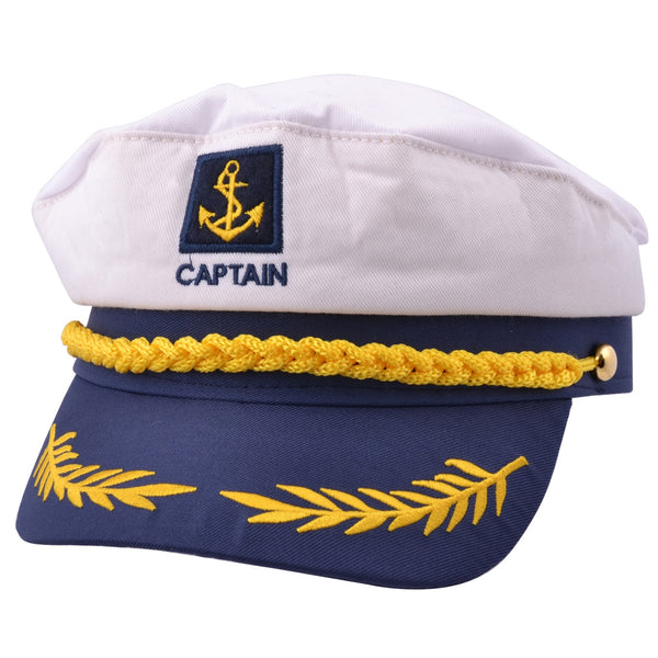 Captain Sailor Adult Costume Yacht Hat - White-Blue