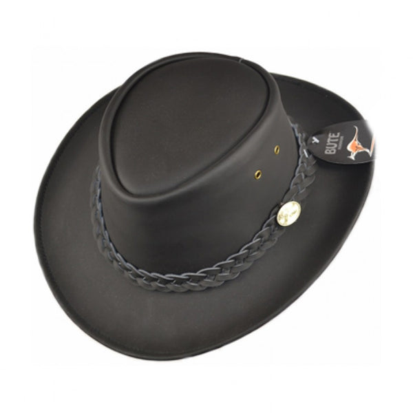 Australian Style Outback Leather Cowboy Hat - Black-Brown