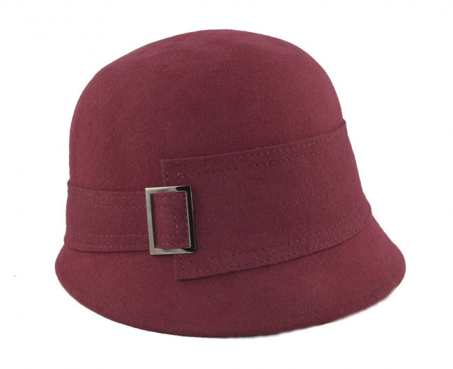 Felt Cloche Hat - Burgundy