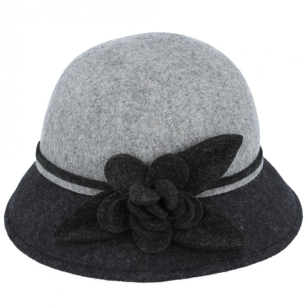 Maz Ladies Chic Vintage Two Tone Wool Cloche Hat With Flower - Black-Grey