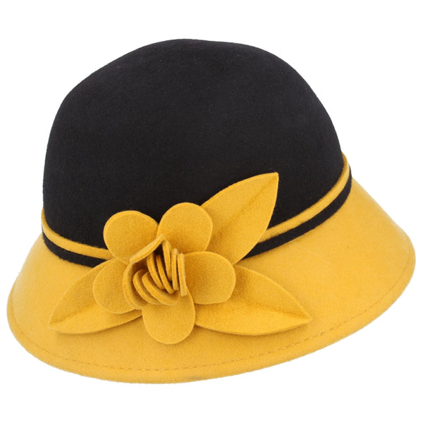 Maz Wool Two Tone Cloche Hat With Flower at the side - Mustard-Brown