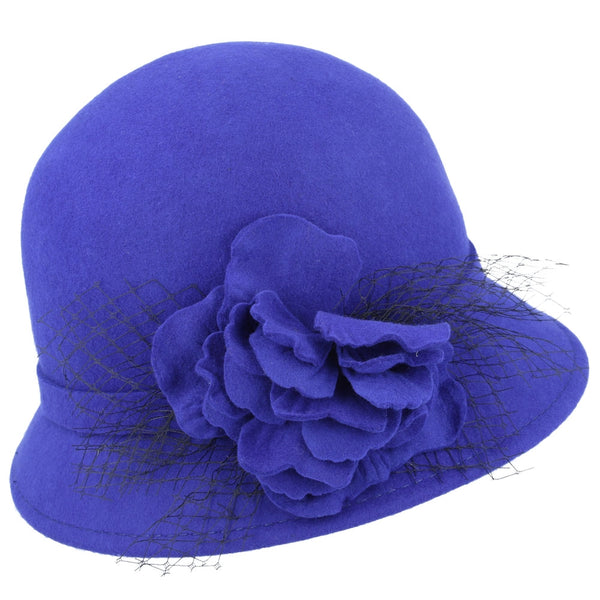 Maz Chic Vintage Wool Cloche Hat With Flower & Mesh Yarn - Mustard,Black,Wine,Royal Blue
