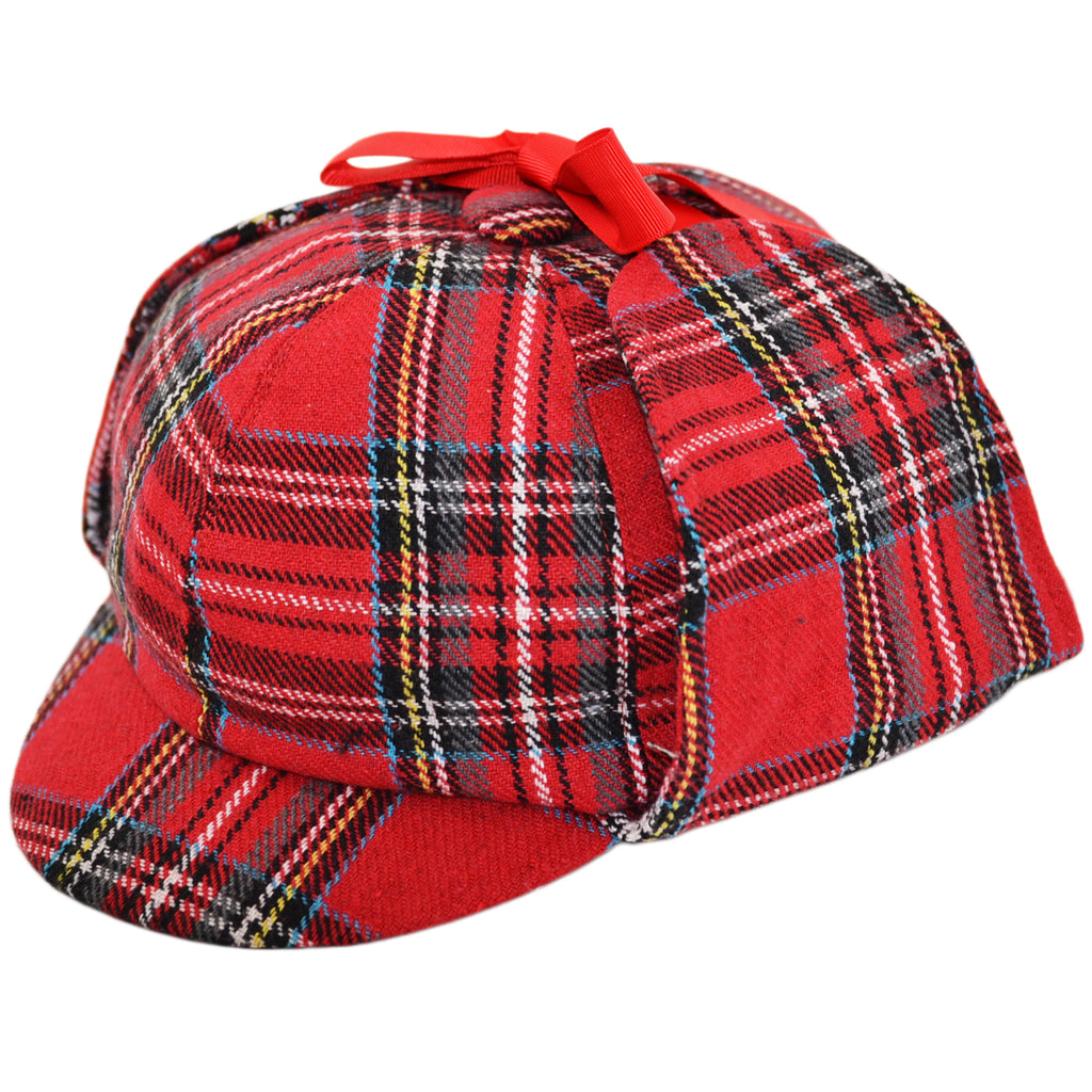 G&H Scottish Tartan Deerstalker Hat - Red