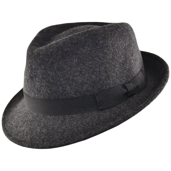 Felt Trilby Hat - Dark - Grey