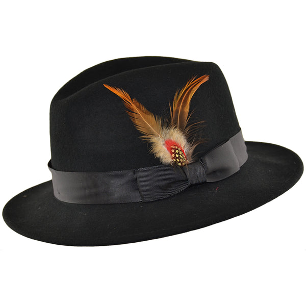Black Wool Rabbi Hat