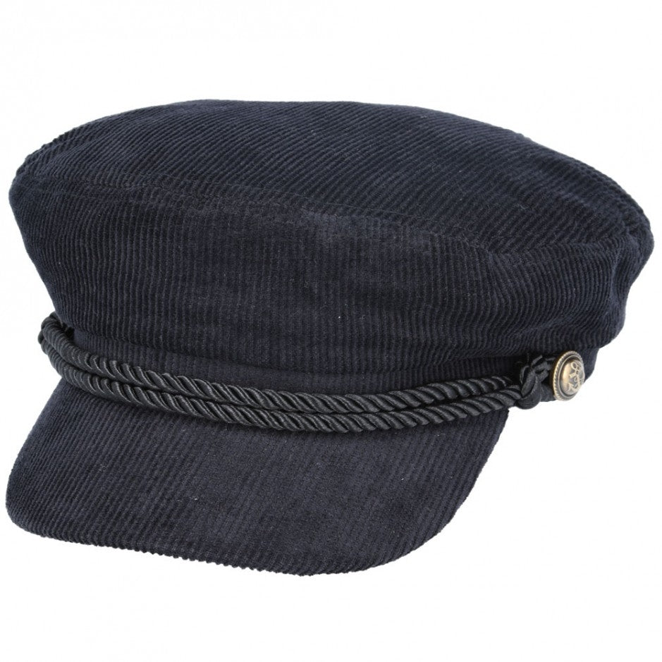 Maz Corduroy Breton, Sailor, Captain Hat - Black