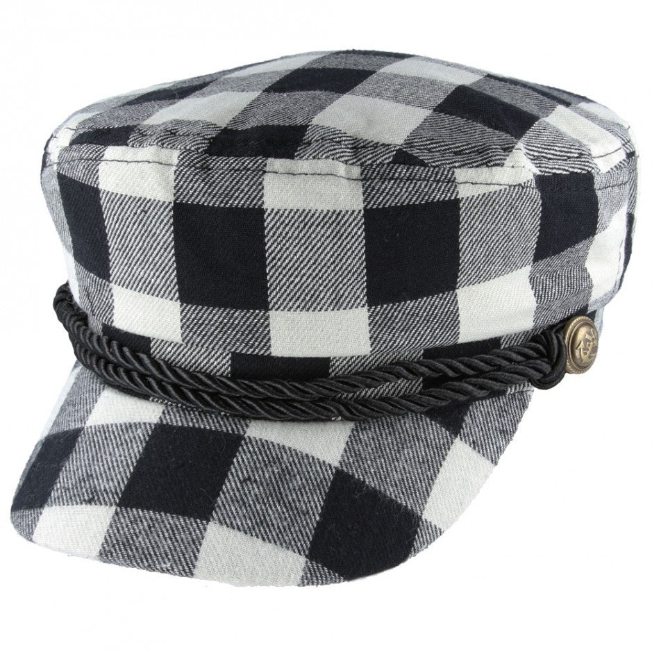 Maz Lumberjack Check Breton, Sailor, Captain Hat - Black - Red