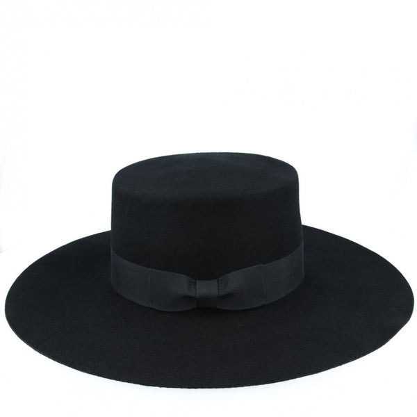 Jason Wide Stiff Brim Wool Pork Pie Hat - Black
