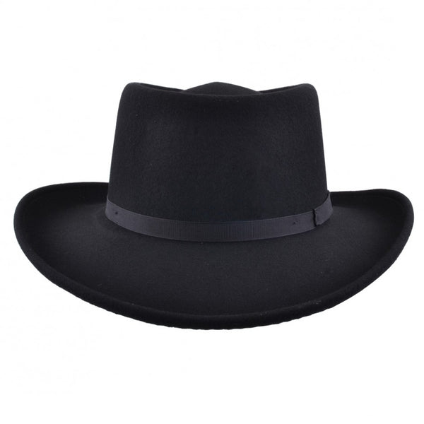 Classic Wool Felt Gambler Hat with Thin Black Band
