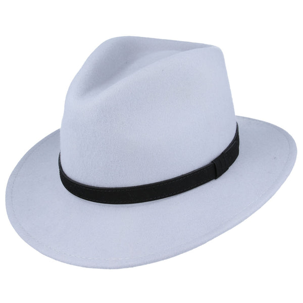 Unisex Crushable Wool Felt Fedora Hat With Leather Band