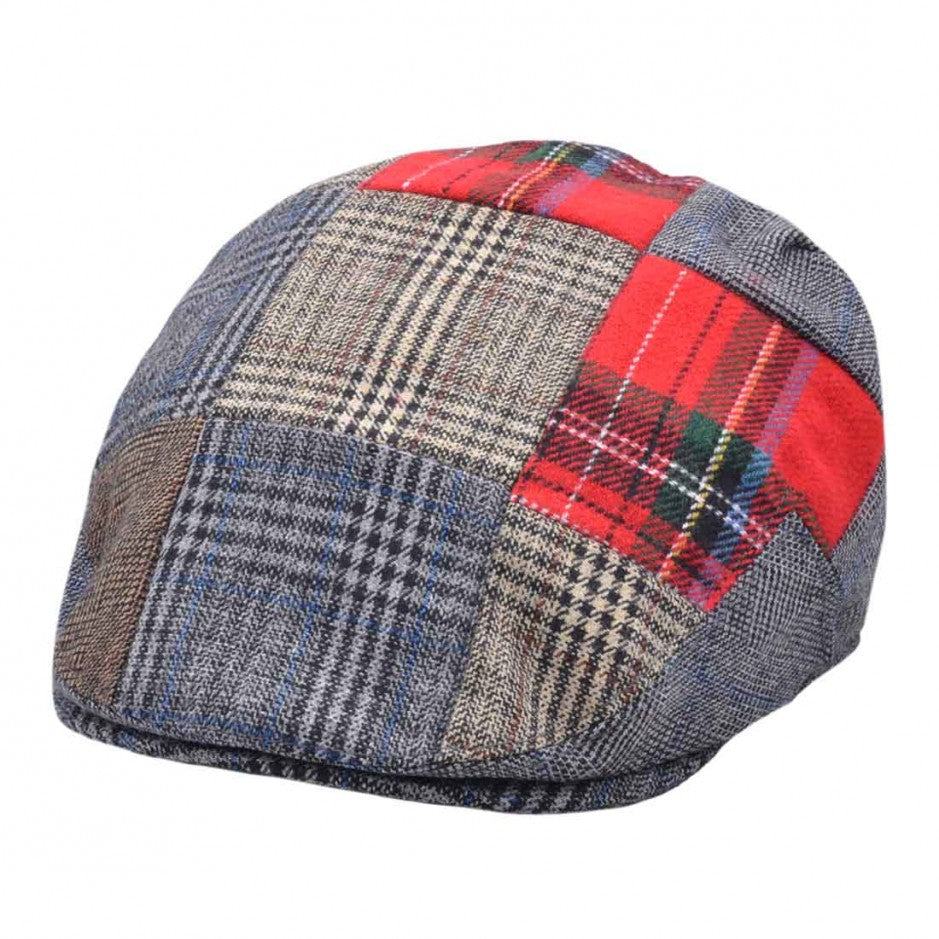 G&H Wool Check Tweed Patch Flat Cap - Multi Colours