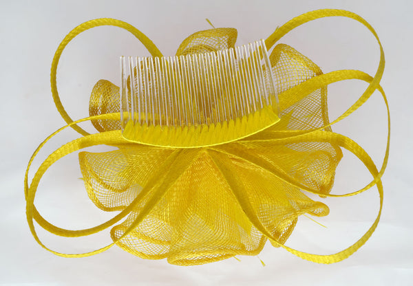 Twist Wedding Fascinator - Yellow