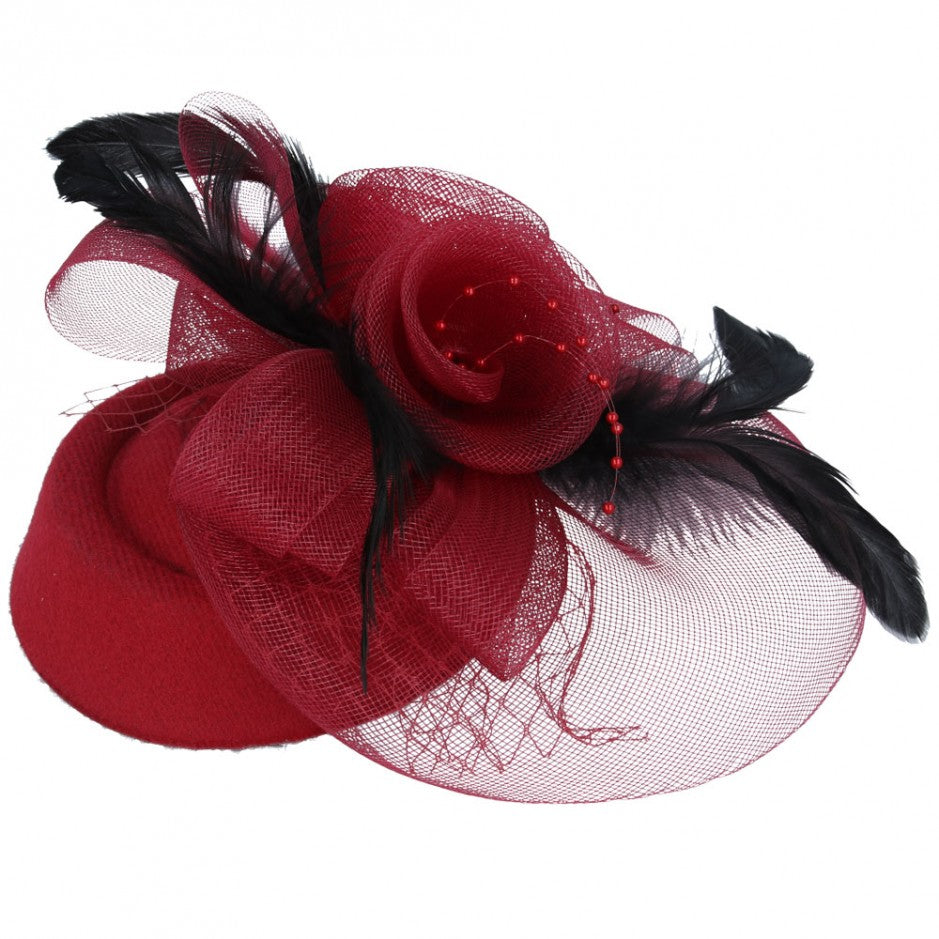 Maz Fascinator With Elegant Feather & Mesh