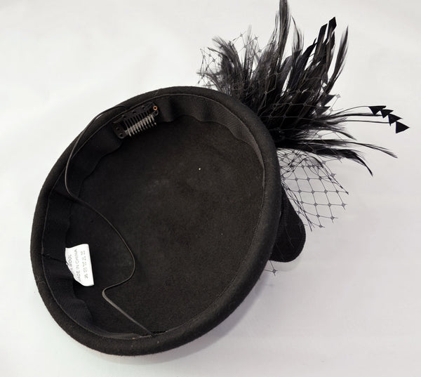Pillbox Wool Fascinator Hat & Veil