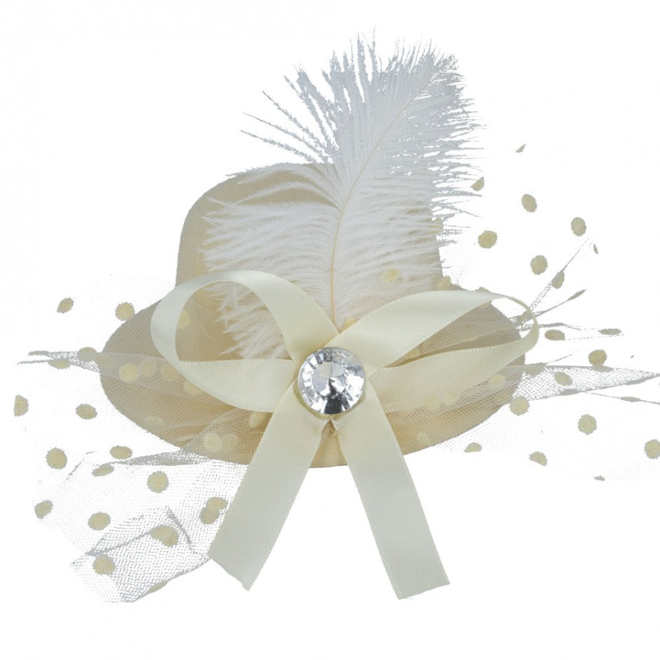 Maz Mini Top Hat Fascinator With Elegant Feather & Diamond