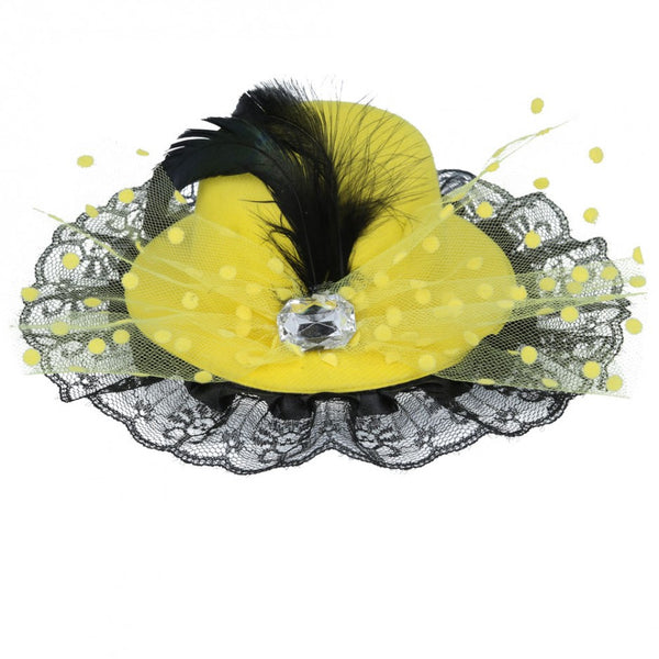 Maz Back Top Hat Fascinator With Elegant Feather & Diamond