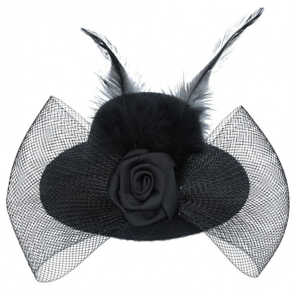 Maz Mini Top Hat Fascinator With Elegant Feather