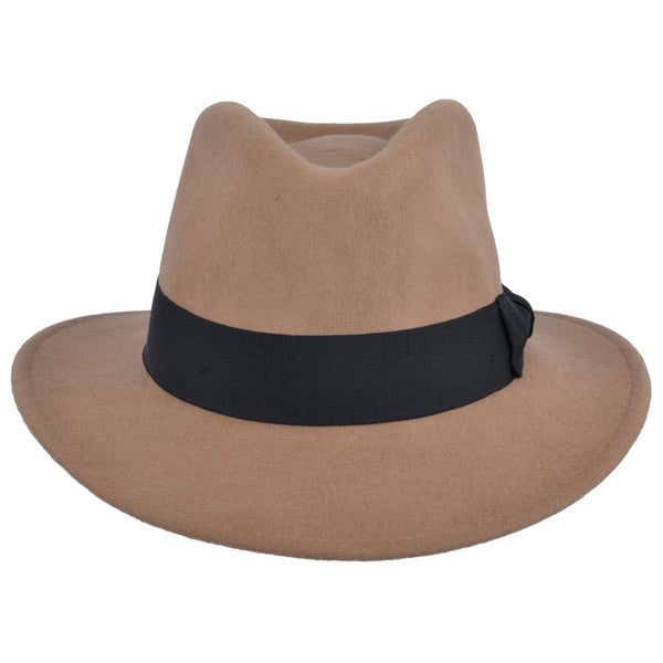 Unisex Wool Felt Crushable Fedora Hat With Grosgrain Band - Camel