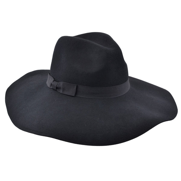 Wide Brim Felt Floppy Hat - Black