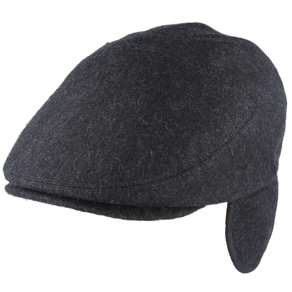 G&H Wool Flat Cap With Ear muffs - Black,Grey.Navy