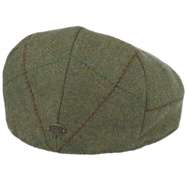 G&H 100% Wool Check Tweed Flat Cap - Olive-Green
